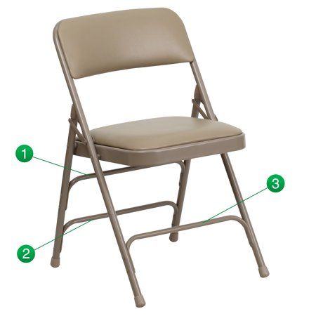 Flash Furniture HERCULES Series Curved Triple Braced and Double Hinged Vinyl Upholstered Metal Folding Chair, Multiple Colors](Diy Folding Chair)