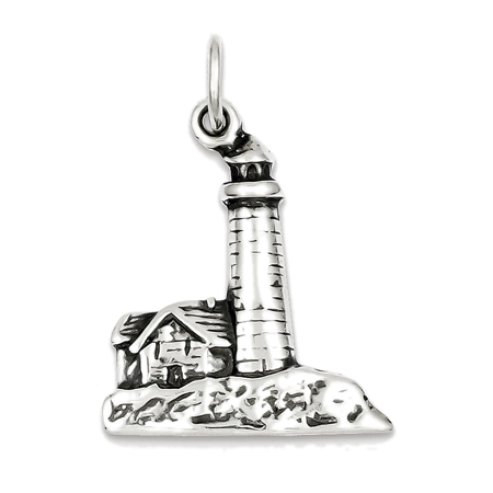925 Sterling Silver Lighthouse Charm Pendant   30Mm