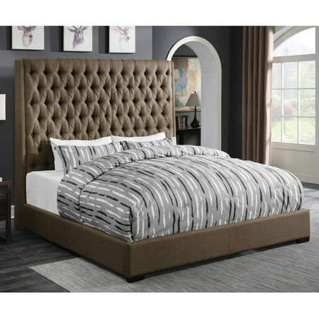 buy online 29e59 5518e Coaster Company Camillie Upholstered Eastern King Headboard, Brown Fabric
