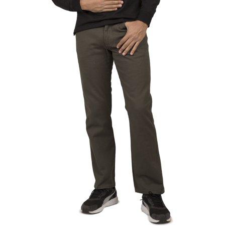 Vibes Mens Olive Green Color Denim 5-Pocket Jeans Slim Straight Leg Stone Wash ()