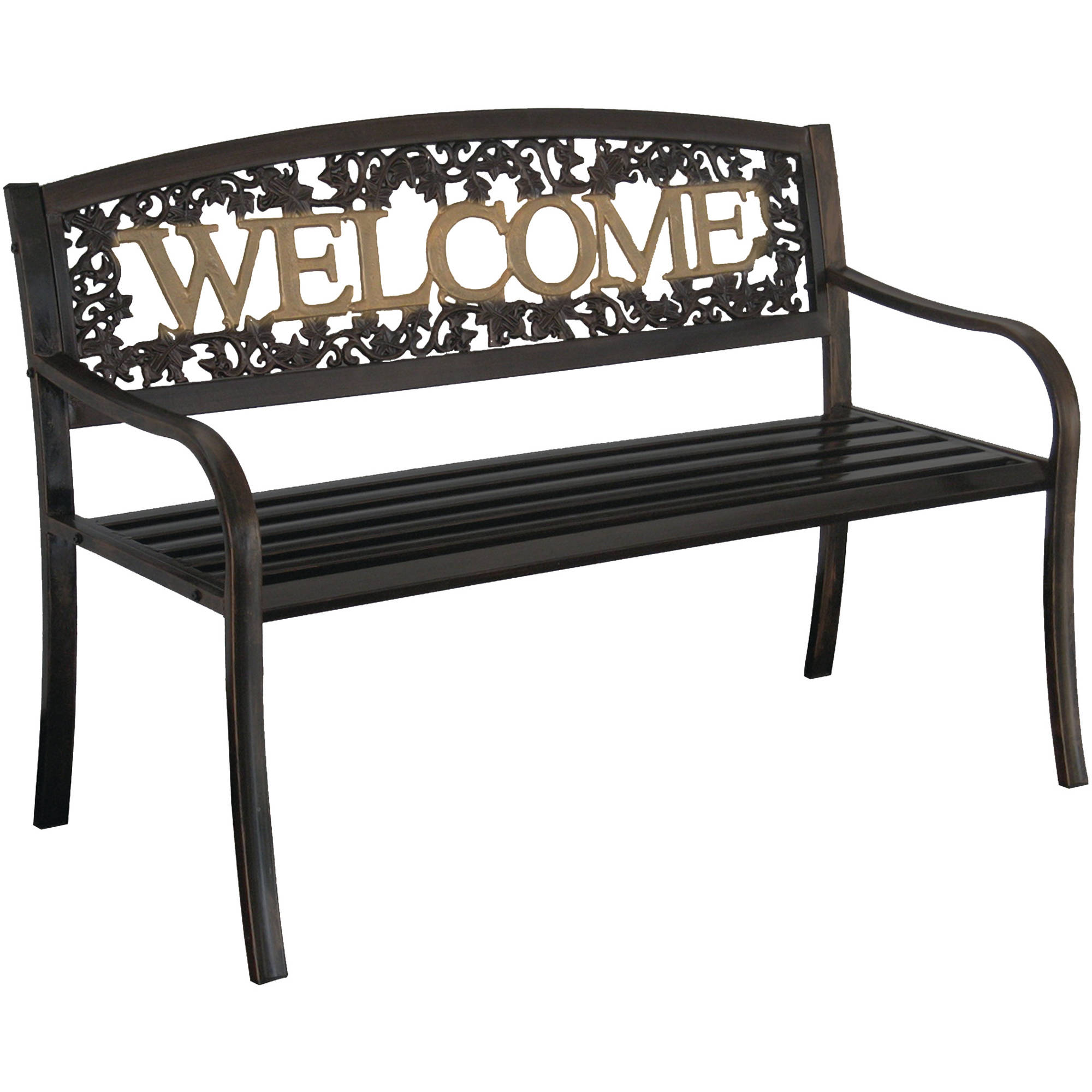 Leigh Country Welcome Outdoor Garden Bench, Black/Gold
