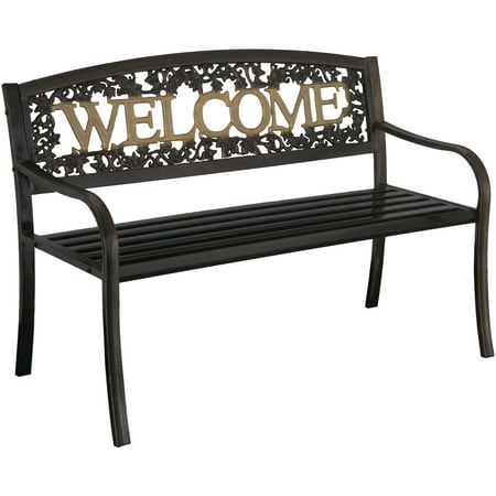 Brilliant Leigh Country Welcome Outdoor Garden Bench Black Gold Cjindustries Chair Design For Home Cjindustriesco