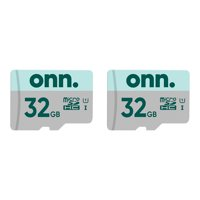 onn. 32GB Class 10 U1 microSDHC Flash Memory Card 2-Pack, up to 100MB/s read speed