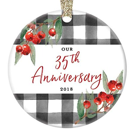 Gifts For Husband Christmas.35th Anniversary Ornament Christmas 2019 Porcelain Keepsake Present Husband Wife Couple Together Married Wed 35 Thirty Five Years 3 Flat Ceramic