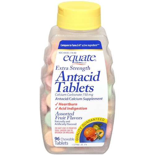 Equate Extra Strength Assorted Fruit Flavors Antacid Tablets, 96ct