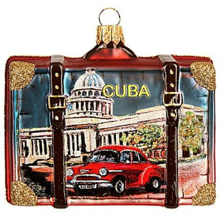Cuba Travel Suitcase Polish Glass Christmas Tree Ornament Havana Decoration ()