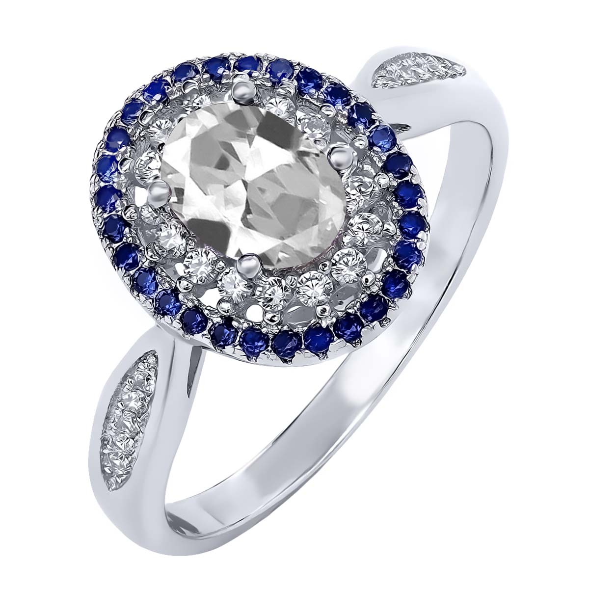 1.55 Ct Oval White Topaz 925 Sterling Silver Ring