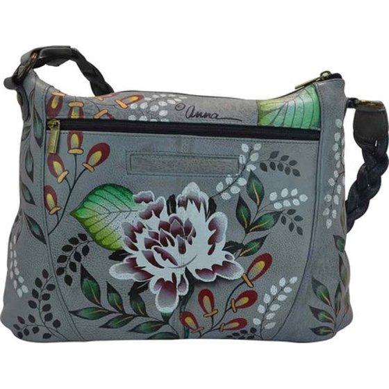 women s anna by anuschka hand painted fringe shoulder hobo bag 8246 13