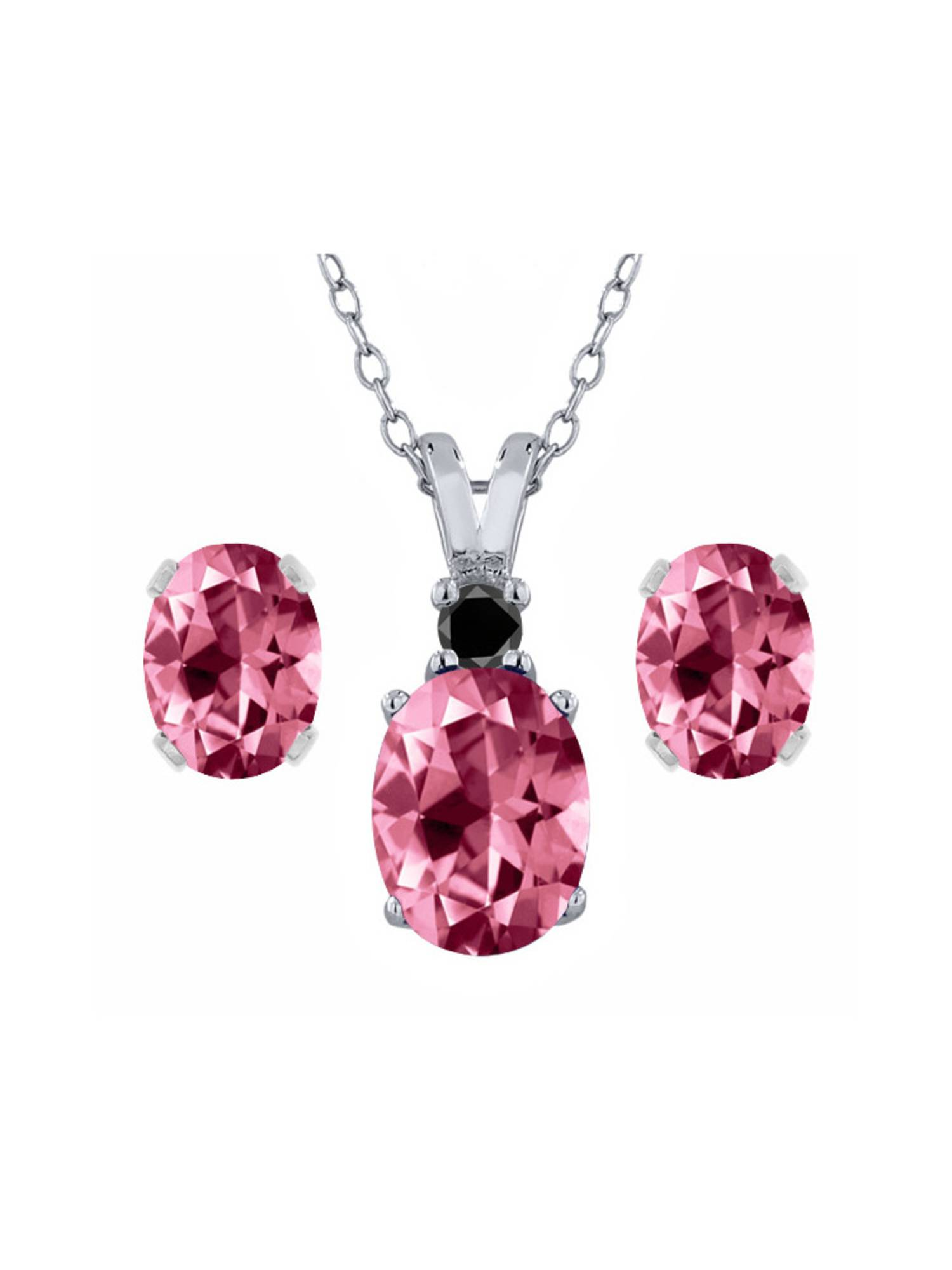 925 Sterling Silver Diamond Pendant Earrings Set with Pink Topaz from Swarvoski by