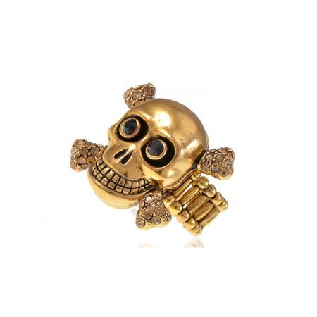 Golden Citrine Crystal (Antique Gold Tone Smiley Skull Bone Evil Cross Topaz Jet Crystal Rhinestone Ring )