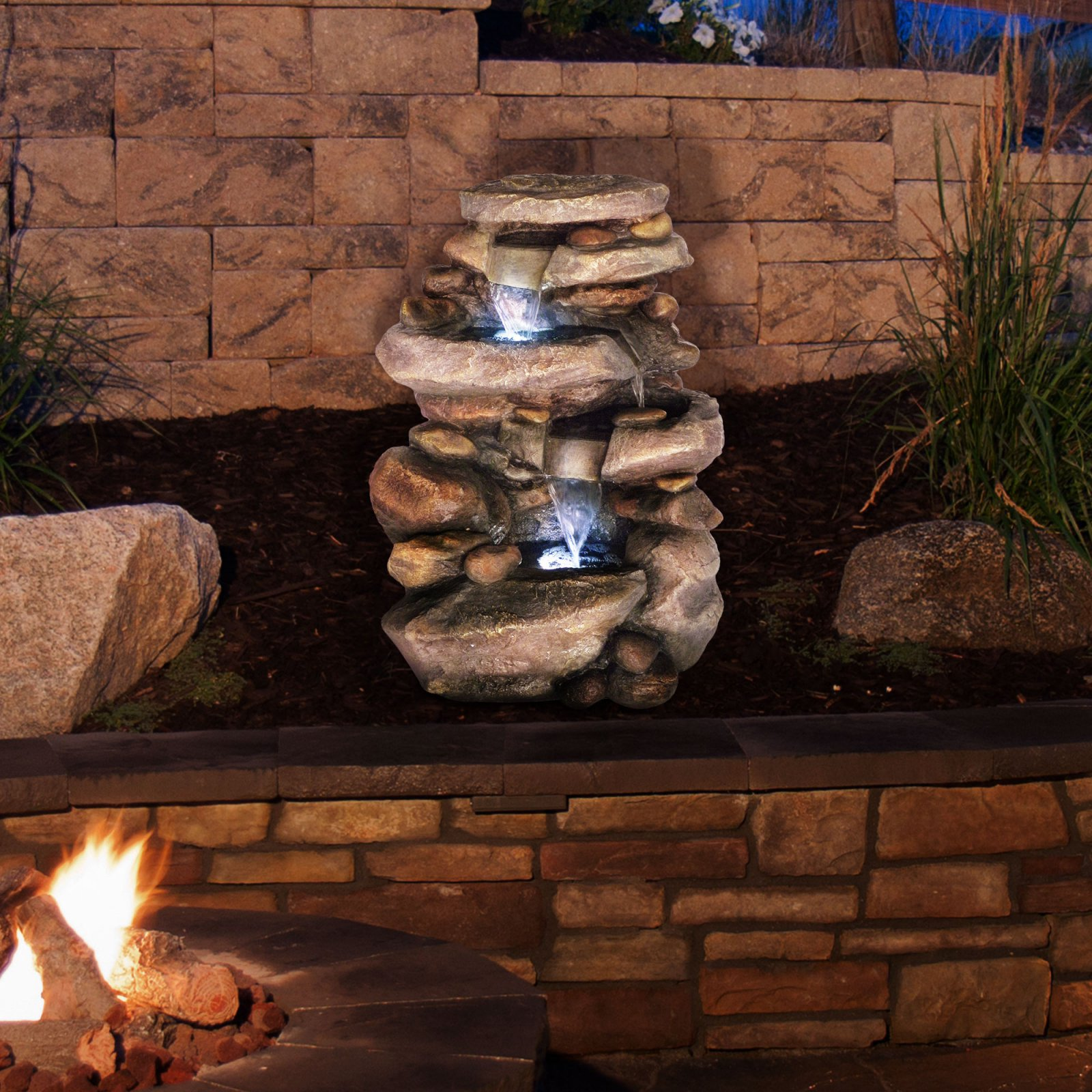 Pure Garden Stone Waterfall Outdoor Fountain with LED Lights