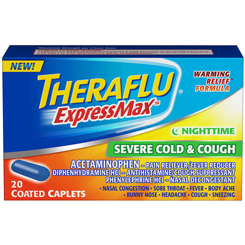 Theraflu ExpressMax Nighttime Severe Cold & Cough, Coated Caplets, 20 Count