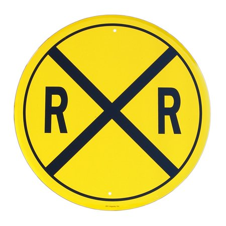 - New Railroad Crossing Round Metal Tin Sign Original RR X Train Hobby Room Decor