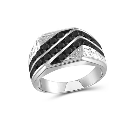 1.00 CTW Round cut Black Diamond 3 Row Slant Sterling Silver Men's Ring Diamond Three Row Ring