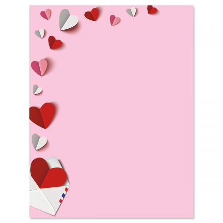 Paper Hearts Letter Papers - Set of 25 Valentine'stationery papers are 8 1/2