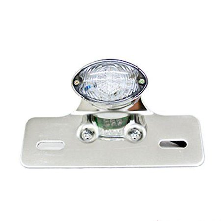 Ediors Universal Cat Eye Custom Motorcycle LED Tail Brake License Plate light With Turn Signal Indicator Chrome Clear