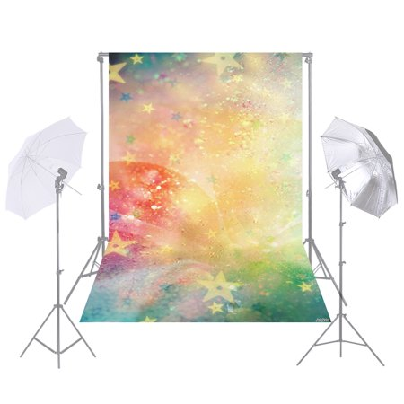 Andoer 1.5 * 2.1m/5 * 7ft Photography Background Colorful Shiny Star Backdrop for DSLR Camera Photo Studio Video Weeding