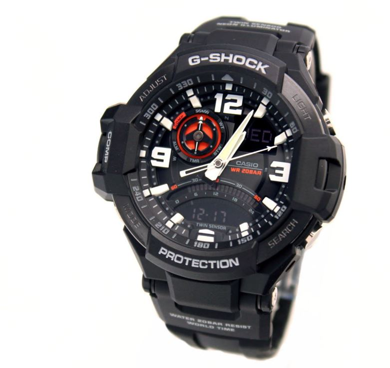 Casio G-Shock Aviation Aviator Wristwatch BLK GA1000-1A