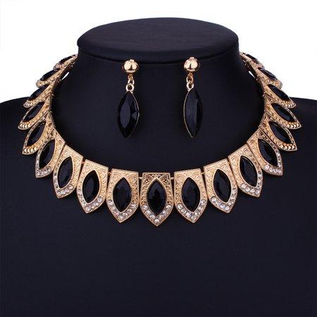 Women Jewelry Set Colorful Artificial Diamond Embedded Alloy Necklace Ear Stud Earrings