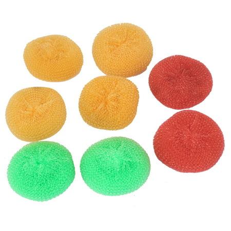 Round Mesh Scrubber (Plastic Wire Round Ball Bowl Dish Washing Scouring Scrubber 8pcs )