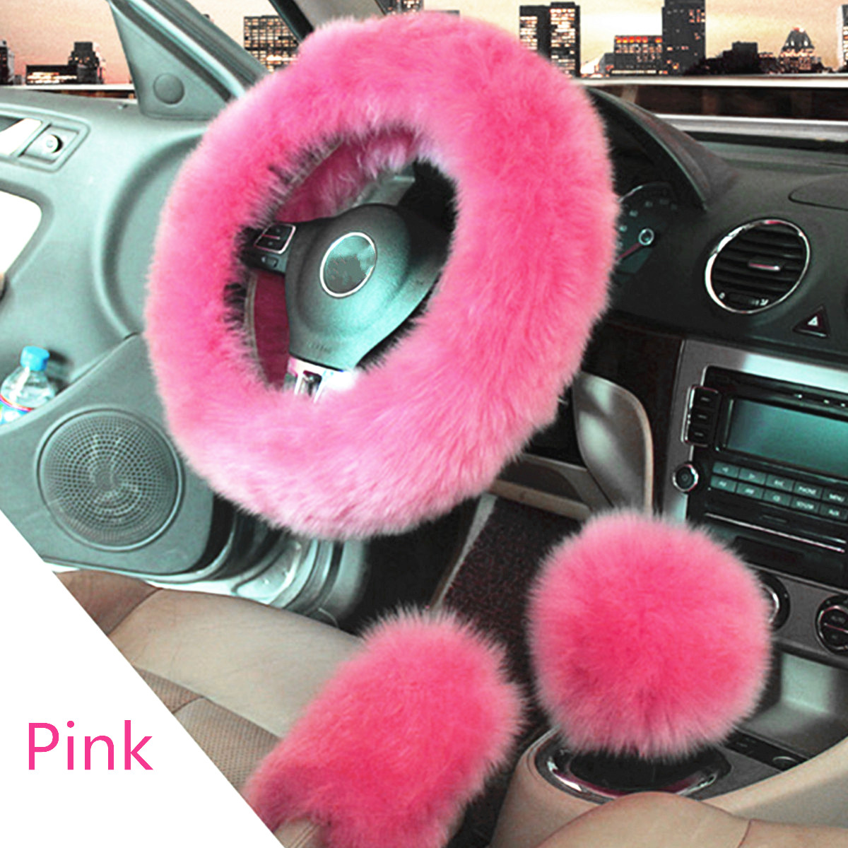 3Pcs Soft Wool Furry Steering Wheel Cover Protector Non-slip + Gear Knob Shifter Parking Brake Cover Set For Car Vehicle