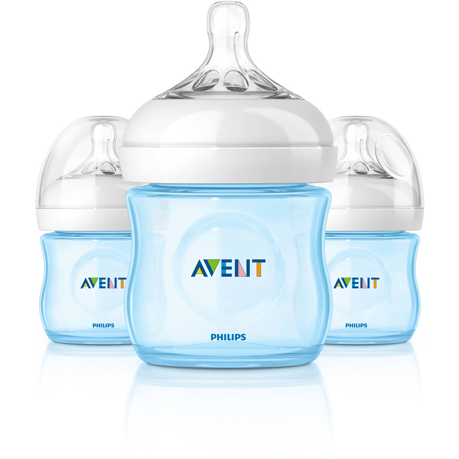 Philips Avent BPA Free Natural Blue Baby Bottles, 4 Ounce, 3 Pack