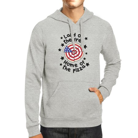 Home Of The Pizza Unisex Gray Funny Independence Day Hoodie Gifts