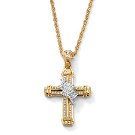 Men's Crystal-Wrapped Cross Pendant and Chain in Yellow Gold Tone (Chain Gold Tone Cross)