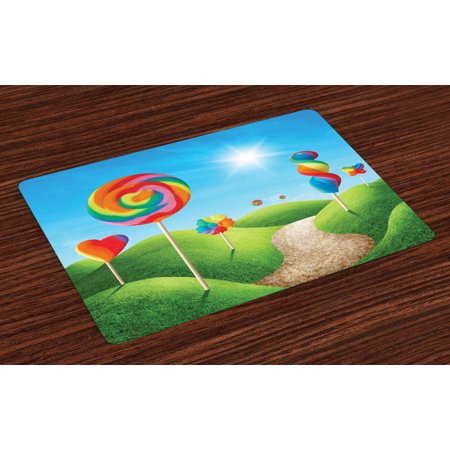 Fantasy Placemats Set of 4 Fantasy Candy Land With Delicious Lollipops and Sweets Sun Cheerful Fun Print, Washable Fabric Place Mats for Dining Room Kitchen Table Decor,Green Blue Red, by - Candyland Room Theme