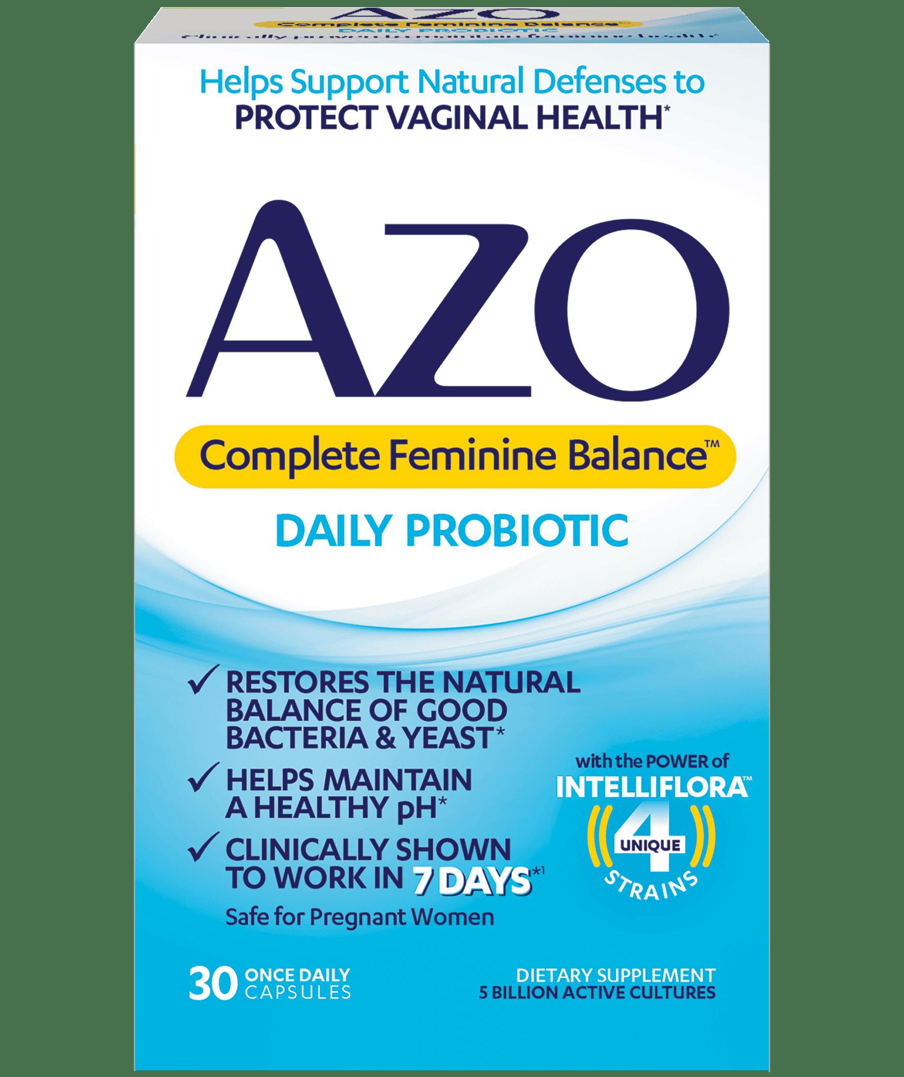 AZO Complete Feminine Balance, Daily Probiotic for Women, Supports Vaginal  Health, 30 ct - Walmart.com - Walmart.com