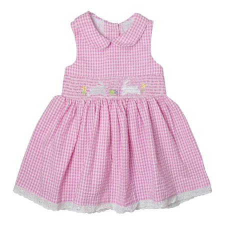 Good Lad Toddler thru 4/6X Pink Peter Pan Collar Seersucker Smocked Dress with Bunny Embroideries (Smocked Bunny)