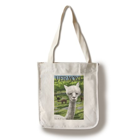 Vermont - Alpaca Scene - Lantern Press Poster (100% Cotton Tote Bag - Reusable) (Alpaca Bags)