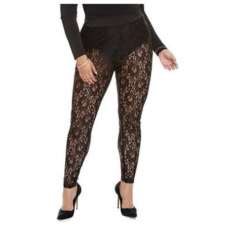 Fashion To Figure Women's Plus Size Camille Lace Leggings With