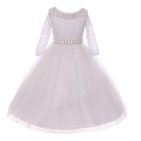Girls White Lace Rhinestone Satin Belt Long Sleeves Communion Dress](Long Sleeve Communion Dress)