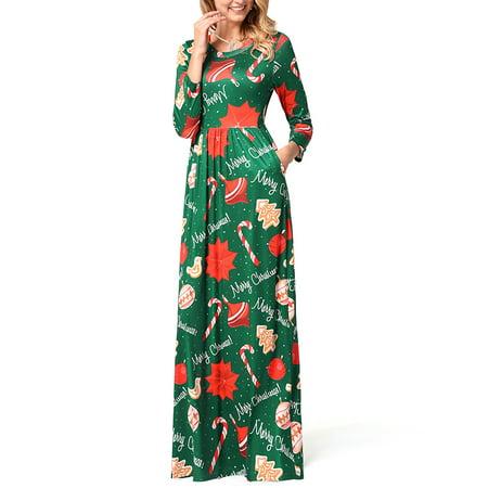 Women Christmas Dresses Xmas Gifts Santa Claus Reindeer Snowflake Print Swing Flared Ball Party Long Maxi Dress Ladies Long Sleeve Casual Evening Dress ()