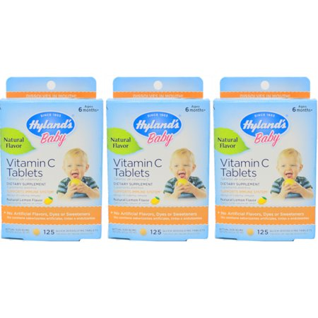 3 Pack Hyland S Baby Vitamin C Tablets Natural Lemon 125