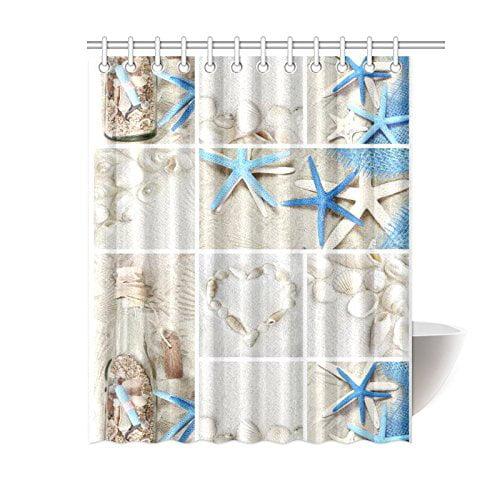 Bathroom Hanging Decor Seaside Pattern Shower Curtain Set with Hooks