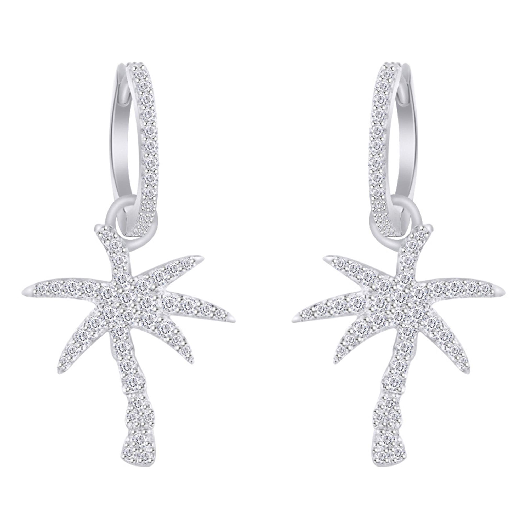 Knsam Stud Earrings Women Silver Metal Flower Silver Earring 2.21Cm Earrings Women Fashion