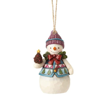 Pinecone Snowman - 4058831 Mini Snowman with Pinecone Ornament Multicolor, Mini Snowman with Pinecone hanging ornament from the Jim Shore Heartwood Creek collection By Enesco