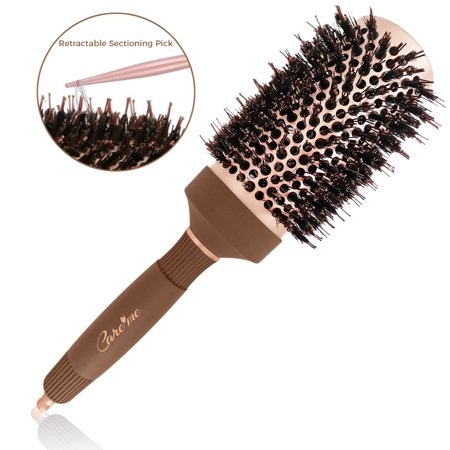 Hair Round Wash Brush - Care me Blow Dry Round Vented Hair Brush with Boar Bristles for Blowouts (2 inch) - Professional Salon Styling Brush for Healthy Shiny Frizz-Free Hair, Straight or Curl