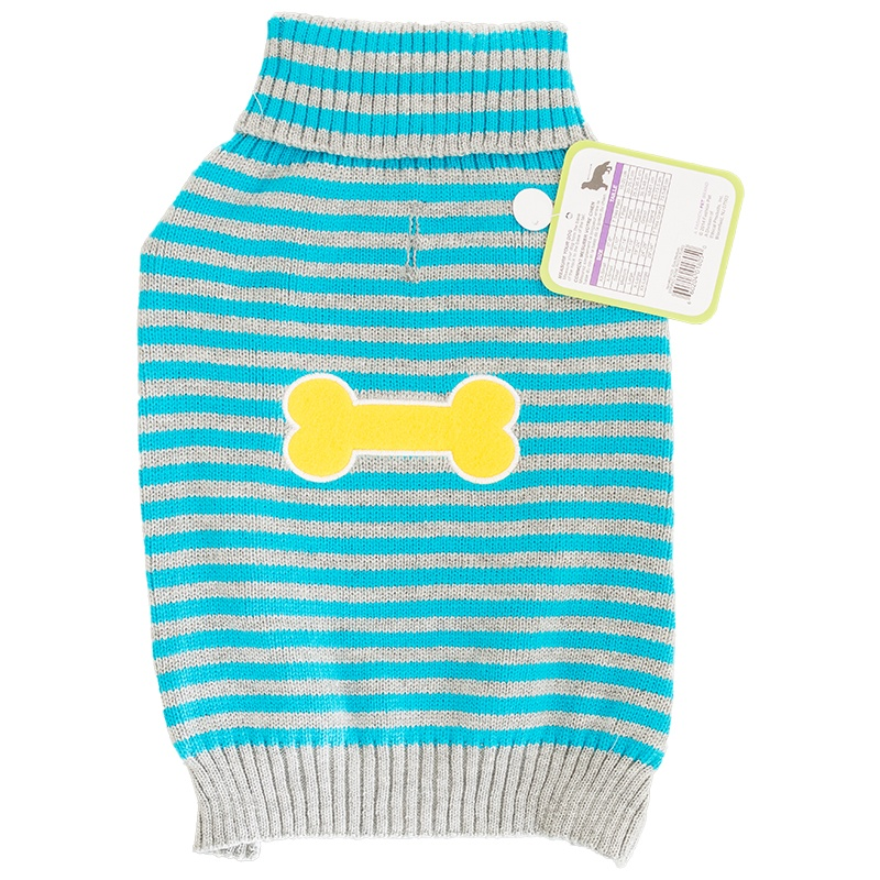 "Lookin' Good Striped Bone Patch Dog Sweater - Turquoise X-Large - (Fits 24""-29"" Neck to Tail)"