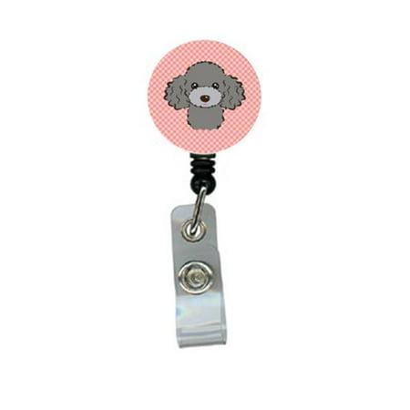 Checkerboard Pink Silver Gray Poodle Retractable Badge Reel - Gray Poodle
