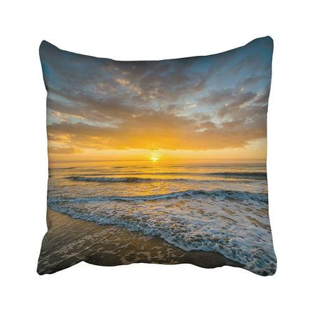 ARTJIA Blue Waves In The Atlantic Ocean And Sunrise Isle Of Palms South Carolina Colorful Pillowcase Pillow Cushion Cover 18x18 inches South Carolina Seat Cushion