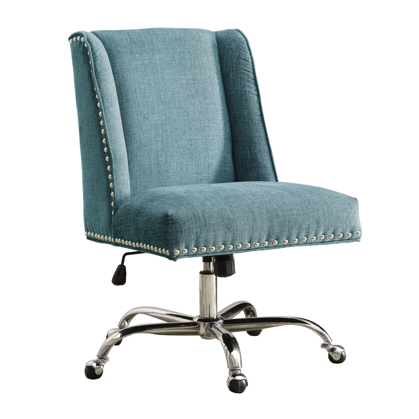 High Back Office Chair Blue Upholstered Armless Executive