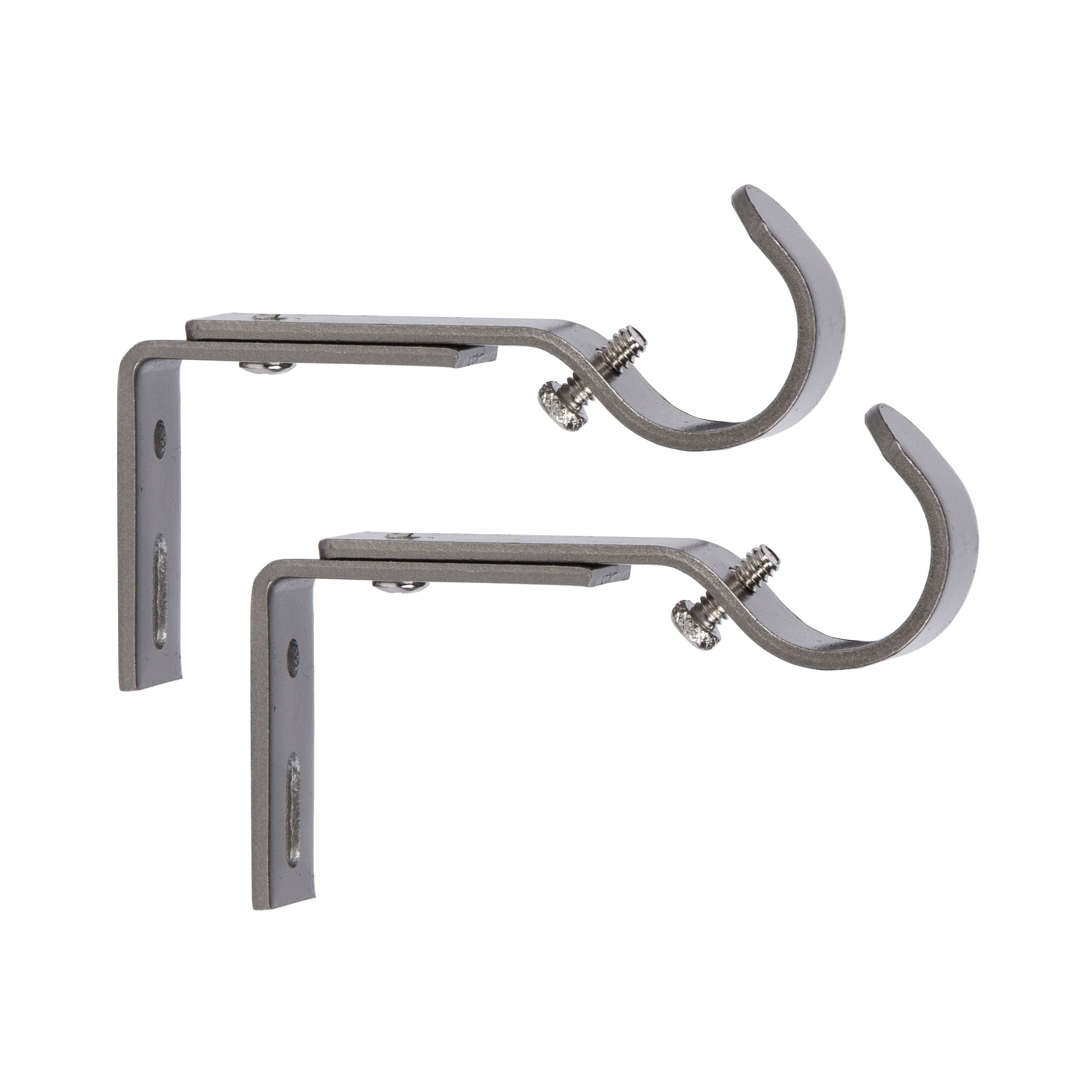 """Better Homes & Gardens Adjustable Mounting Brackets for 3/4"""" or 1"""" Diameter Curtain Rod, Pewter Finish, Set of 2"""