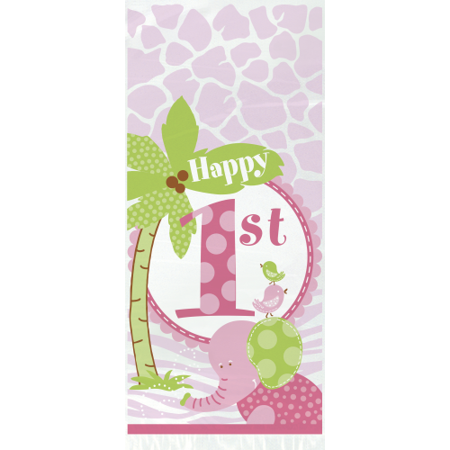 Pink Safari 1st Birthday Cello Bags (20 ct)