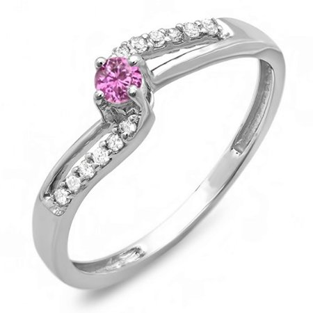Dazzlingrock Collection 10K Pink Sapphire & White Diamond Wave Bridal Promise Engagement Ring, White Gold, Size 7 Pink Sapphire Wave