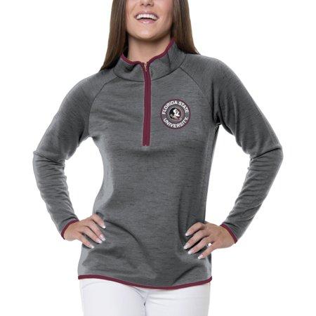 South Florida Womens Zip (Women's Heathered Gray Florida State Seminoles Double Ring 1/4-Zip Jacket )