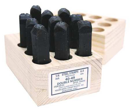 Young Bros Stamp Works 05092 Hand Cut Number Set,3//16Inh,Gothic,Steel