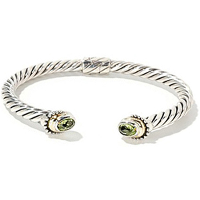 Sterling Silver 18K Gold Peridot Bangle Bracelet (1.20.cts.tw) by RBSAMPR43